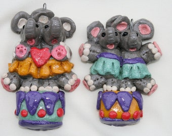 Salt Dough Elephants on a Drum Ornament, Bread Dough Ornament, Elephant Ornament, Gift Tag
