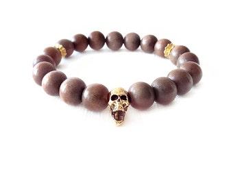 Wood Beaded Stretch Bracelet - Coconut Palm Tree Wood - Mocha, Gold - The Basics: Skull 10mm Round