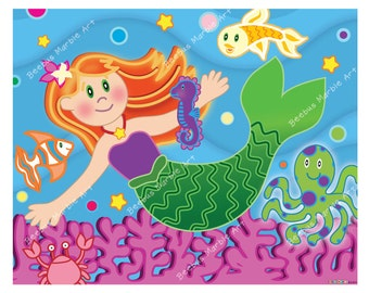 Baby mermaid clipart | Etsy