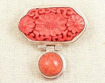 Vintage Faux Carved Cinnabar and Red Sponge Coral Sterling Pendant