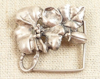 Vintage Handmade Flowers and Bug Brooch
