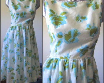 Vintage White with Green and Blue Flowers Sleeveless 50s Summer Dress