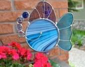 Grandpa's Fish in Blue Purple Stained Glass Suncatcher