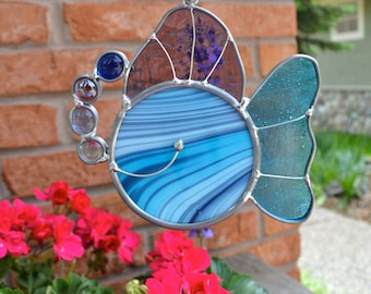 Grandpa's Fish in Blue Purple Stained Glass Suncatcher