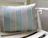 Aqua and mixed natural gray brown linen fringed nautical stripe coastal living home decor decorative pillow cover
