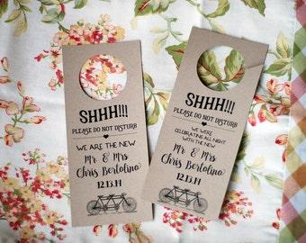 Custom Retro One-sided Wedding Door Hangers - Bride & Groom Suite - Do Not Disturb Sign - Kraft, Creme, or White Cardstock - Tandem Bicycle