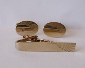 Men's Goldtone Pioneer Cufflinks and Tie Clasp Set