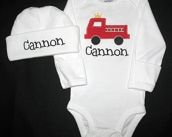 Custom Personalized Applique FIRETRUCK and NAME Bodysuit and Hat Set - Red, Black, and Yellow