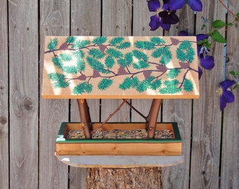 Persnickety Bird Feeder - Handmade Open Air Bird Feeder - Forest Green Pine Branches & Cones - Reclaimed Pine Wood and Natural Tree Branches