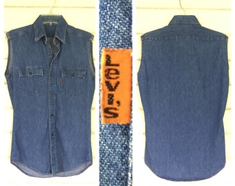VINTAGE Levi's denim 70s orange tab sleeveless shirt