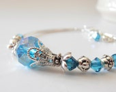 Aquamarine Crystal Bracelet, Blue Bridesmaid Jewelry, Tropical or Beach Weddings, Handmade Beaded Jewelry, Matching Sets, Bridesmaid Gift