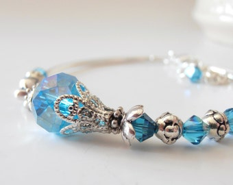 Aquamarine Crystal Bracelet, Blue Bridesmaid Jewelry, Tropical or Beach Weddings, Handmade Beaded Jewelry, Matching Sets, Bridesmaid Gift