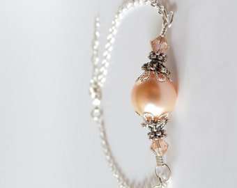 Peach Bridesmaid Jewelry, Single Pearl Bracelet on Silver Plated Chain, Antiqued Silver, Swarovski Crystals, Beaded Bridesmaid Bracelet Gift
