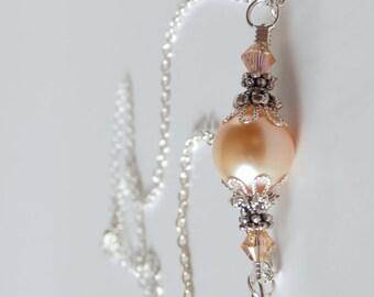 Peach Pearl Wedding Jewelry, Peach Bridesmaid Necklace, Swarovski Pearl and Crystal, Peach Jewelry, Bridesmaid Gift, Beaded Pearl Necklace