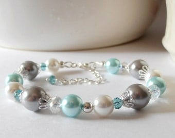 Pale Aqua and Gray Pearl Bridesmaid Bracelets