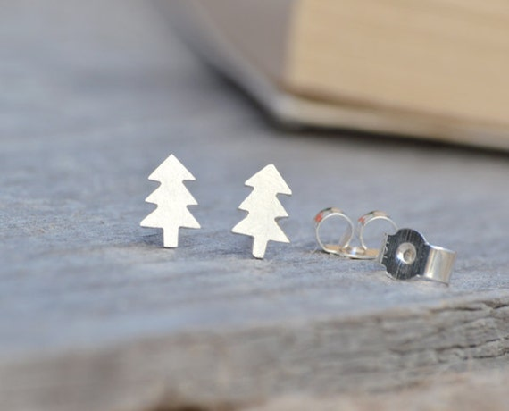 Christmas tree ear studs in sterling silver, winter earring studs, Xmas tree earring studs, handmade in England
