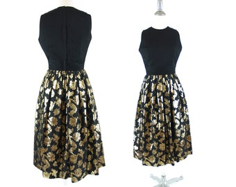 Vintage Black 1960s Cocktail Dress XS/S // small Vintage 60s metallic gold leaf print on skirt // holiday