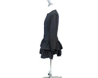 Vintage XS black and white 80s mini double ruffle dress // tiny polka dots and flowers