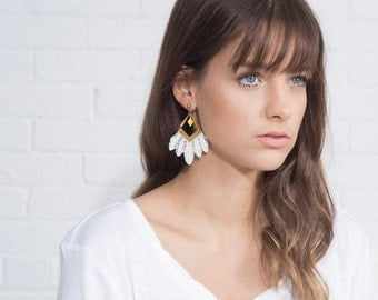 Lace earrings - FREE SPIRIT - White, black, burgundy or indigo blue lace with brass bars and yellow diamond shaped findings