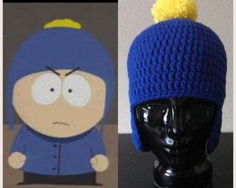 Crochet South Park Craig Tucker Blue With Yellow Pom Pom Crocheted Earflap Hat Perfect For A Craig Halloween Costume or Christmas gift Warm