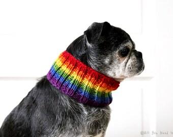 Rainbow Neck Warmer for - Dog Neck Warmer - Dog Scarf - Knit Dog Collar - Dog Clothing - Pug Scarf - Dog Accessories