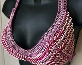 Waterproof Chainmail Bikini Top - Pink with White Rubber Size Small
