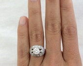 1940s Vintage Diamond Engagement Ring with 1.73 Carats Platinum