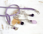 Silver Heart Pendant, Amethyst Necklace, Lilac Necklace, Sterling Silver Necklace, Hammered Heart, Lavender Necklace, Artisan Necklace
