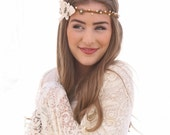 Hippie Bohemian Tie Headband of Ivory Suede Leaves and Metal Flowers, Music Festival Headband For Women and Teens, Boho Festival Fashion