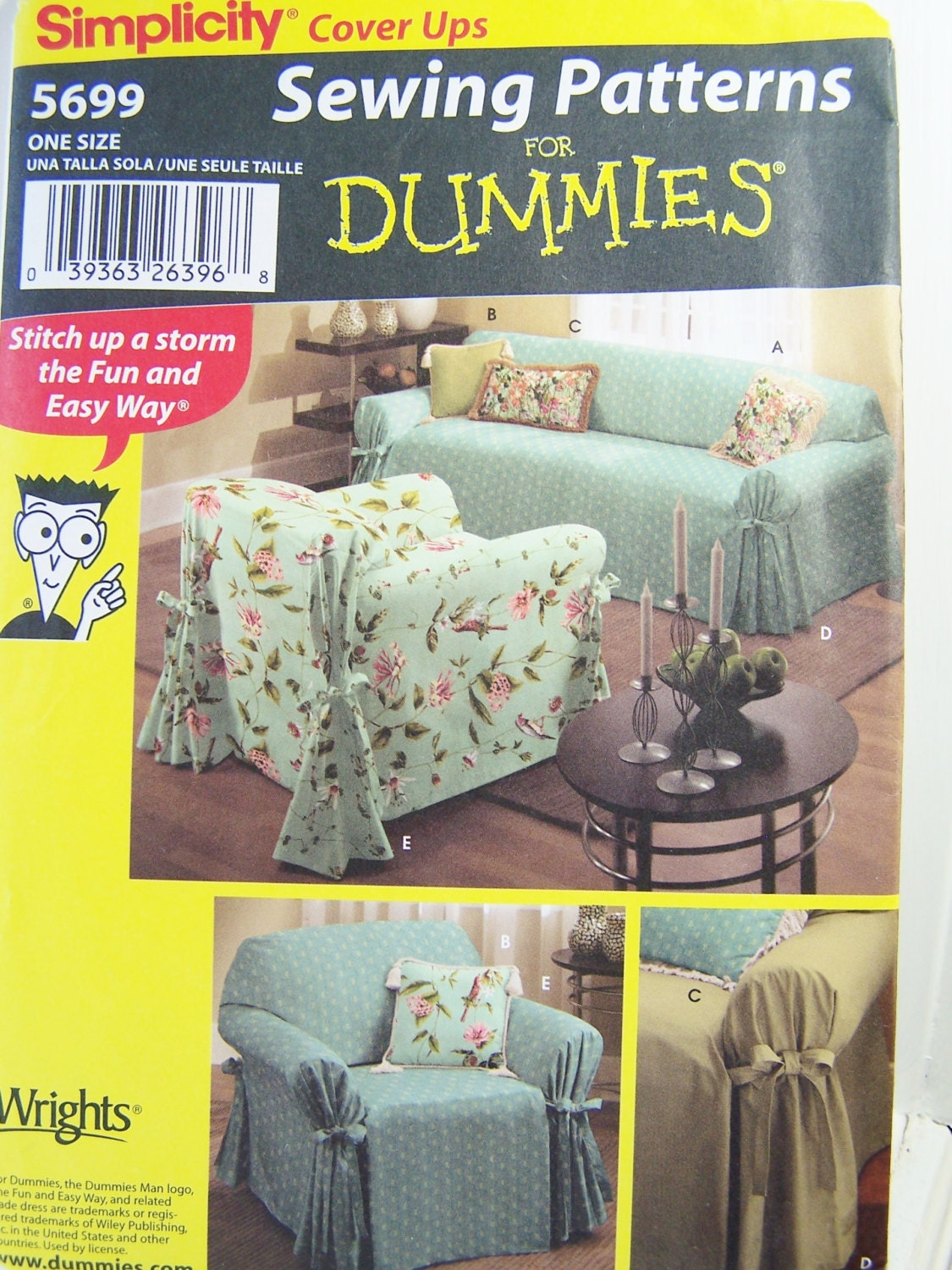 Simplicity 5699 sewing pattern sofa covers slipcovers chair for Furniture cover sewing patterns
