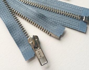 SEPARATING Metal Zippers- YKK nickel teeth zips- (1) piece - Blue Heron 262- 22 Inch