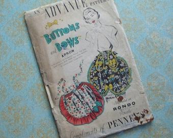 Vintage Advance Buttons and Bows Apron Pattern Uncut Pennys