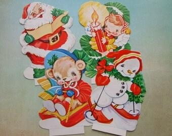 4 Unused Vintage Die-Cut Christmas Display Cards Snowman Santa Bear Elf