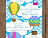 Custom Printed Hot Air Balloon Baby Shower Invitations - Boy, Girl or Gender Neutral - 1.00 each with envelope
