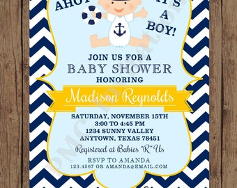 Custom Printed Navy and Yellow Chevron Nautical Baby Shower Invitations - 1.00 each with envelope