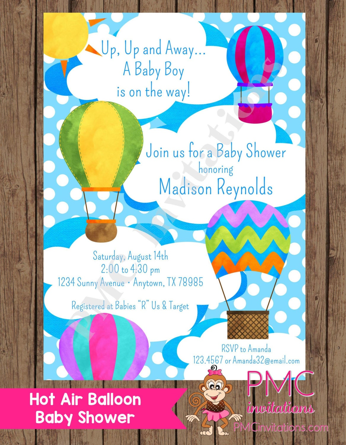 custom printed hot air balloon baby shower by pmcinvitations