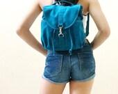 New Year SALE - 20% OFF Kinies Mini Backpack in Teal / Sling Bag / Messenger / Shoulder Bag / Barrel Bag / Rucksack / Kids / Women