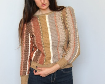 neutral territory -- vintage 70's striped and woven knit sweater Size S