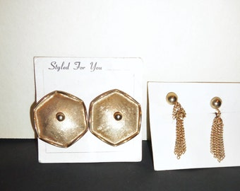 2 Vintage Gold Tone Earrings Metal Modern Abstract Brutalist geometric jewelry Unused