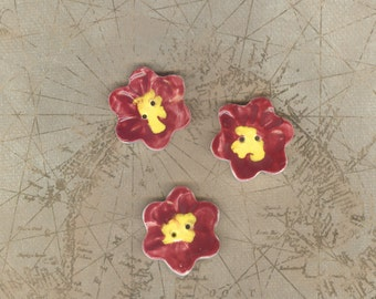 Hand painted ceramic red hibiscus buttons Artisan ceramic clay red buttons Large button flower buttons porcelain buttons hand painted button