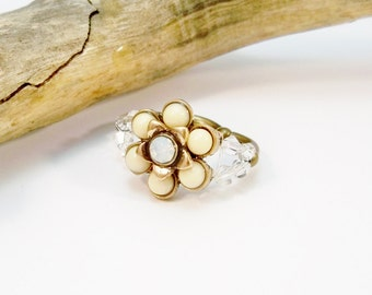 Stretch Band Ring, Crystal Stretch Ring, Crystal Ring, Bronze Stretch Ring,  Elastic Ring, Crystal Ring, Statement Ring