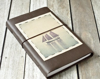 Large Leather Journal with Schooner Photo - The Hjordis