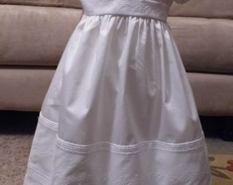 Cotton pleats and embroidery Christening, Baptism, Blessing Gown