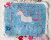 Unicorn Art, Artwork Original, Mixed Media - Hand Embroidered - OOAK - Always be yourself unless you can be a unicorn quote