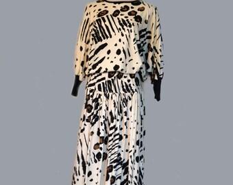 80s Outfit Skirt Blouse HMJ Set Cotton Blend Tribal Sz S to M