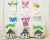 Butterfly Party Garden Bug Spring printable party cupcake wrapper cupcake topper DIY kit caterpillar ladybug butterfly dragonfly bumble bee