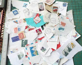 old postmarks and postage stamps, 1970s up, collection, scrapbook, collage