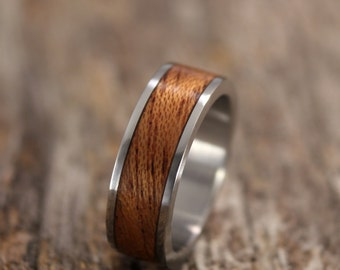 Bentwood Ring - Stainless Steel and Koa Wooden Ring - Handcrafted Wood Wedding Ring - Custom Made