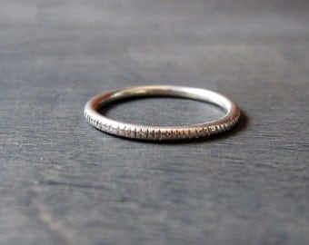 Sterling Silver Graved Ring 1.5mm Handmade Forged Band - stacking ring -