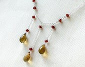 Whiskey Quartz Necklace with Garnet on Sterling Silver - Spiced Cider by CircesHouse on Etsy